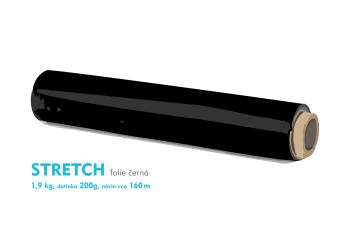 Stretch fólie - 1,9 kg - čierna - dutinka 200g, návin cca 160m