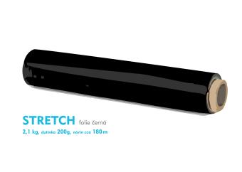Stretch fólie - 2,1 kg - čierna - dutinka 200g, návin cca 180m