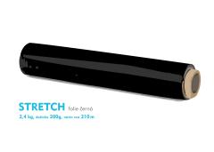 Stretch fólie - 2,4kg - čierna - dutinka 200g, návin cca 210m