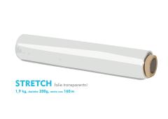 Stretch fólie - 1,9 kg - transparentný - dutinka 200g, návin cca 160m