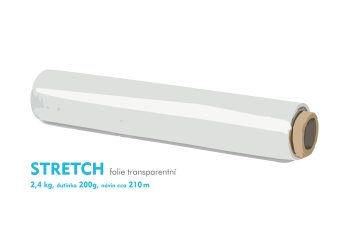 Stretch fólie - 2,4kg - transparentný - dutinka 200g, návin cca 210m