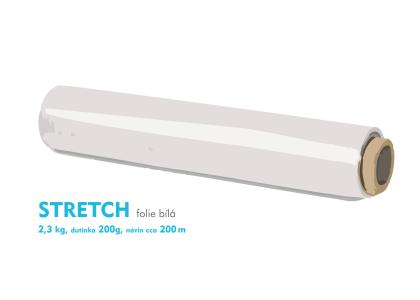 Stretch fólie - 2,3 kg - biela - dutinka 200g, návin cca 200m