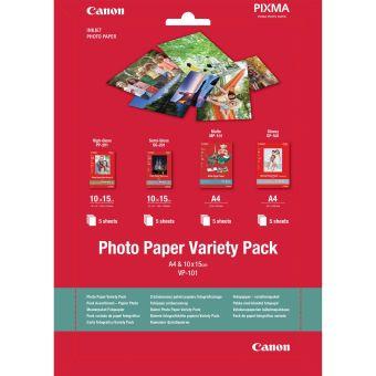 Fotopapier 10x15cm, A4 Canon Variety Pack, 20 listov, lesklý a matný, bielý, inkoustový (VP-101)