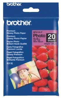Fotopapier 10x15cm Brother Premium photo, 20 listov, 190 g/m2, lesklý, bielý, inkoustový (BP-61)