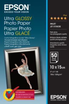 Fotopapier 10x15cm Epson Ultra Glossy, 50 listov, 300 g/m2, lesklý, bielý, inkoustový (C13S041943)