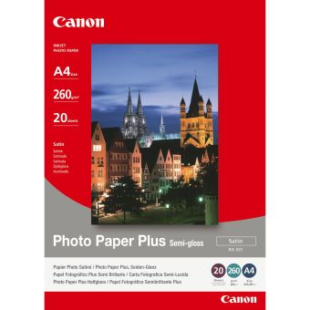 Fotopapier 24x30cm Canon Photo Paper Plus, 20 listov, 260 g/m2, lesklý, bielý, inkoustový (SG-201)