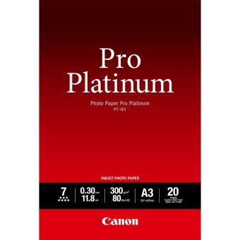 Fotopapier A3 Canon Pro Platinum, 20 listov, 300 g/m2, lesklý, bielý, inkoustový (PT-101)
