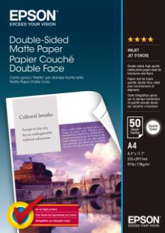Fotopapier A4 Epson Double Sided Matte, 50 listov, 178 g/m2, matný, bielý, obojstranný, inkoustový (C13S041569)