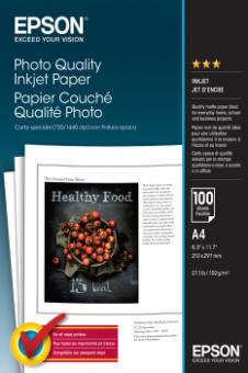 Fotopapier A4 Epson Photo Quality Ink Jet, 100 listov, 102 g/m2, matný, bielý, inkoustový (C13S041061)
