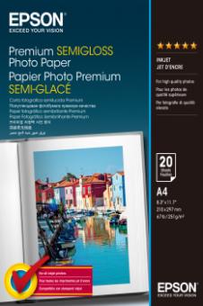 Fotopapier A4 Epson Premium Semigloss, 20 listov, 251 g/m2, pololesklý, bielý, inkoustový (C13S041332)