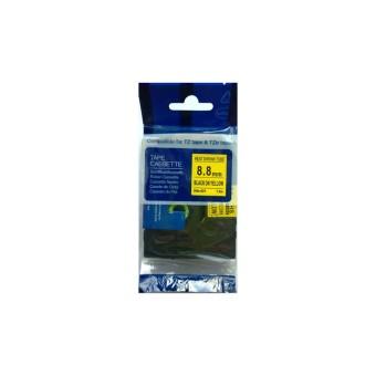 Kompatibilná páska s Brother HSE-621, 8,8mm, čierna tlač na žltom podklade, zmršťovacia bužírka