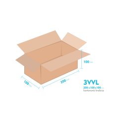 Kartónová krabica 3VVL - 200x100x100mm - vnútorné 195x95x90mm