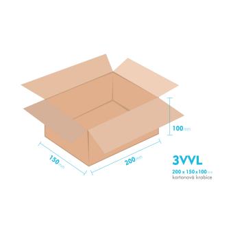 Kartónová krabica 3VVL - 200x150x100mm - vnútorné 195x145x90mm