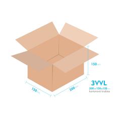 Kartónová krabica 3VVL - 200x150x150mm - vnútorné 195x145x140mm