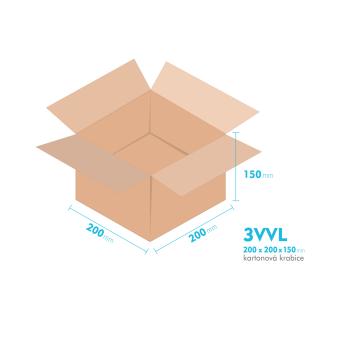 Kartónová krabica 3VVL - 200x200x150mm - vnútorné 195x195x140mm