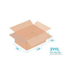 Kartónová krabica 3VVL - 220x160x100mm - vnútorné 215x155x90mm