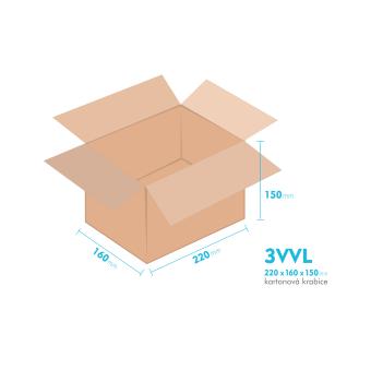 Kartónová krabica 3VVL - 220x160x150mm - vnútorné 215x155x140mm