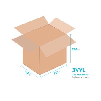 Kartónová krabica 3VVL - 220x160x200mm - vnútorné 215x155x190mm