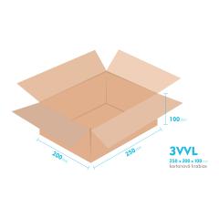 Kartónová krabica 3VVL - 250x200x100mm - vnútorné 245x195x90mm