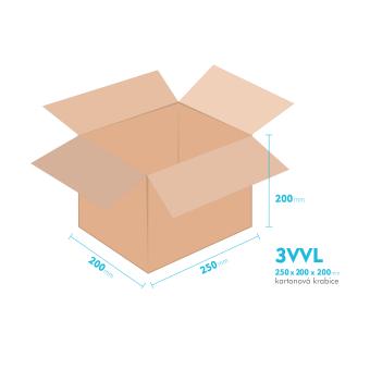 Kartónová krabica 3VVL - 250x200x200mm - vnútorné 245x195x190mm