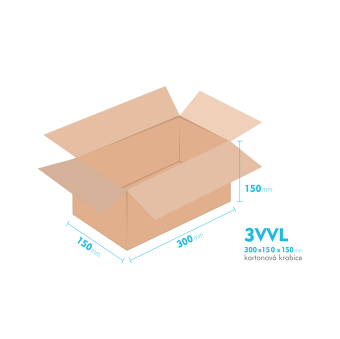Kartónová krabica 3VVL - 300x150x150mm - vnútorné 295x145x140mm