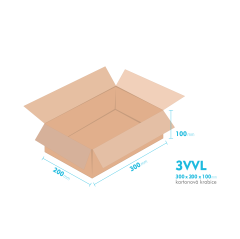 Kartónová krabica 3VVL - 300x200x100mm - vnútorné 295x195x90mm