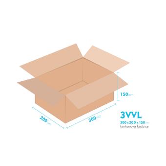 Kartónová krabica 3VVL - 300x200x150mm - vnútorné 295x195x140mm