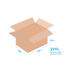 Kartónová krabica 3VVL - 300x200x200mm - vnútorné 295x195x190mm