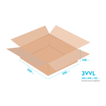 Kartónová krabica 3VVL - 300x300x100mm - vnútorné 295x295x90mm