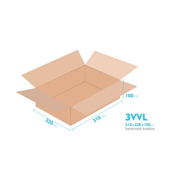 Kartónová krabica 3VVL - 310x220x100mm - vnútorné 305x215x90mm