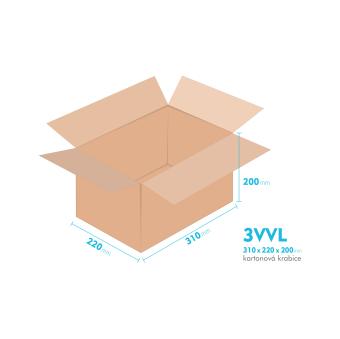 Kartónová krabica 3VVL - 310x220x200mm - vnútorné 305x215x190mm