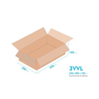 Kartónová krabica 3VVL - 350x200x100mm - vnútorné 345x195x90mm