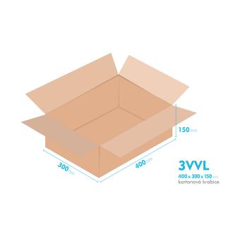 Kartónová krabica 3VVL - 400x300x150mm - vnútorné 395x295x140mm