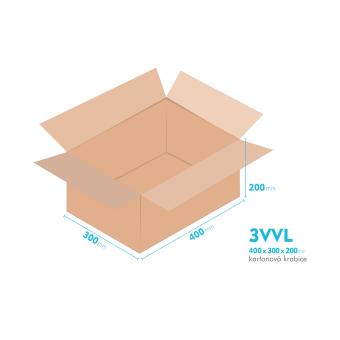 Kartónová krabica 3VVL - 400x300x200mm - vnútorné 395x295x190mm