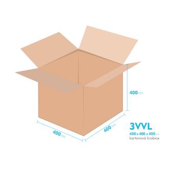 Kartónová krabica 3VVL - 400x400x400mm - vnútorné 395x395x390mm