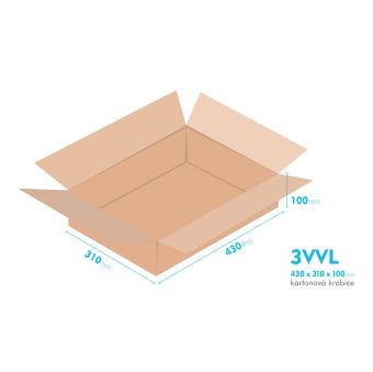 Kartónová krabica 3VVL - 430x310x100mm - vnútorné 425x305x90mm