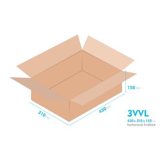 Kartónová krabica 3VVL - 430x310x150mm - vnútorné 425x305x140mm