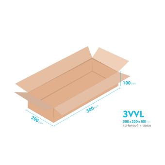 Kartónová krabica 3VVL - 500x200x100mm - vnútorné 495x195x90mm