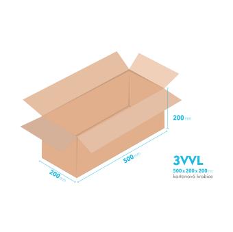 Kartónová krabica 3VVL - 500x200x200mm - vnútorné 495x195x190mm