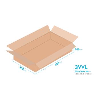 Kartónová krabica 3VVL - 500x300x100mm - vnútorné 495x295x90mm