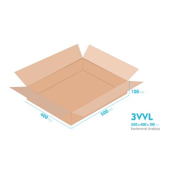 Kartónová krabica 3VVL - 500x400x100mm - vnútorné 495x395x90mm