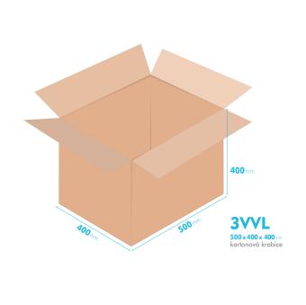 Kartónová krabica 3VVL - 500x400x400mm - vnútorné 495x395x390mm