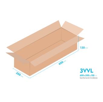 Kartónová krabica 3VVL - 600x200x150mm - vnútorné 595x195x140mm