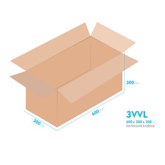 Kartónová krabica 3VVL - 600x300x300mm - vnútorné 595x295x290mm