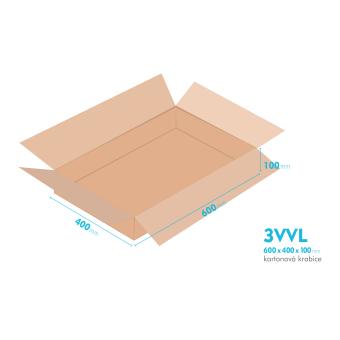 Kartónová krabica 3VVL - 600x400x100mm - vnútorné 595x395x90mm