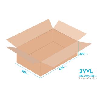 Kartónová krabica 3VVL - 600x400x200mm - vnútorné 595x395x190mm