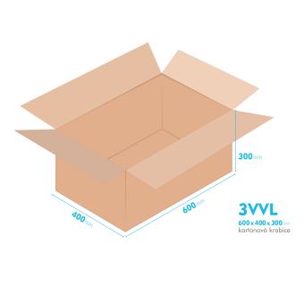 Kartónová krabica 3VVL - 600x400x300mm - vnútorné 595x395x290mm
