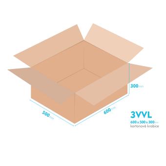 Kartónová krabica 3VVL  - 600x500x300mm - vnútorné 595x495x290mm