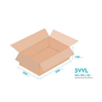 Kartónová krabica 5VVL - 300x200x100mm - vnútorné 294x194x88mm