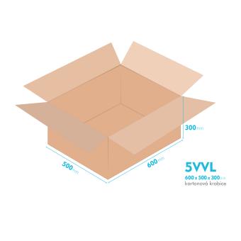 Kartónová krabica 5VVL - 600x500x300mm - vnútorné 594x494x288mm